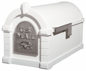 Original Keystone Series Mailbox - White with Satin Nickel Eagle
