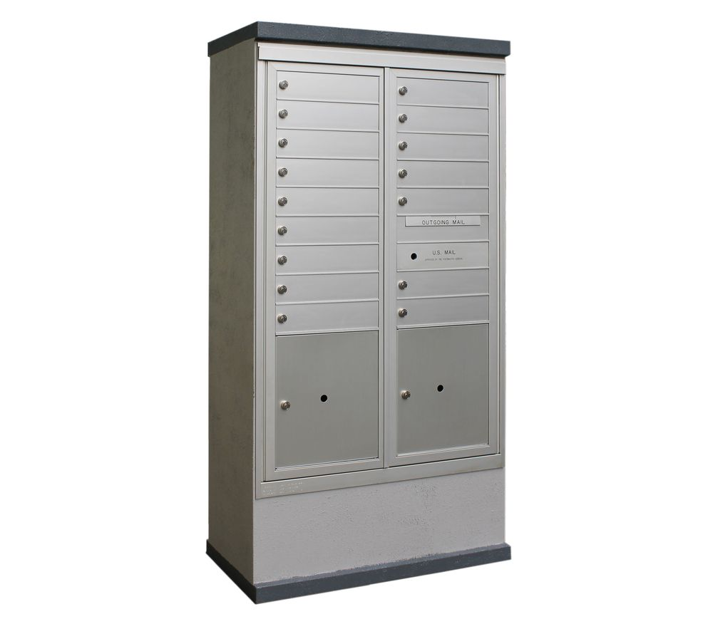 2b Global Mailboxes Outdoor Mailbox Kiosk 16 Tenant Doors With 2 Parcel Lockers Usps