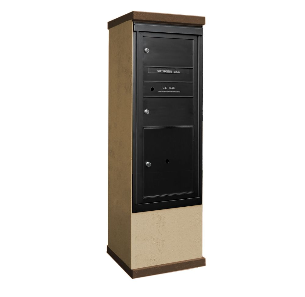2b Global Mailboxes Outdoor Mailbox Kiosk 2 Doublewide Tenant Doors With 1 Parcel Locker
