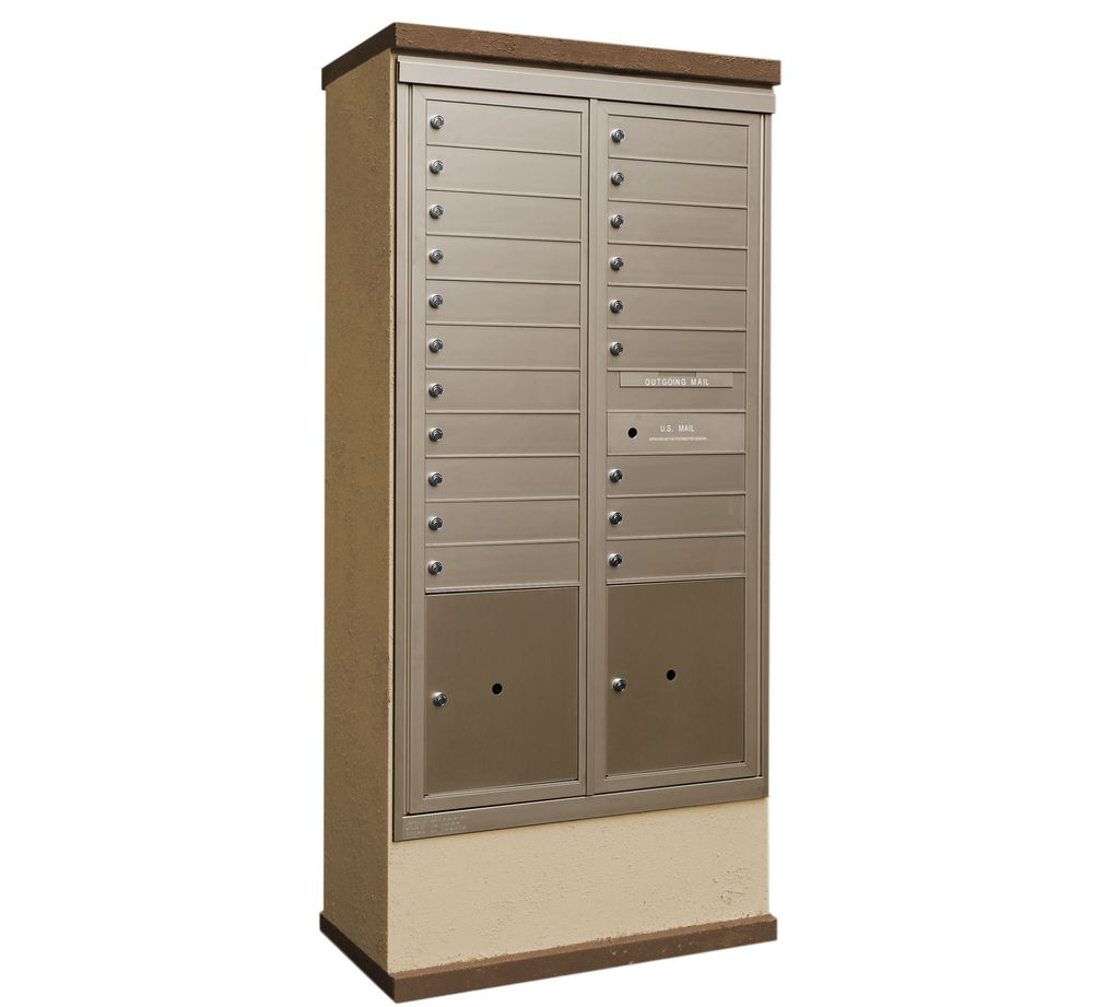 2b Global Mailboxes Outdoor Mailbox Kiosk 20 Tenant Doors With 2 Parcel Lockers Usps