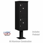 Salsbury 3302BLK-U Outdoor Parcel Locker - 2 Compartments - Black - USPS Access