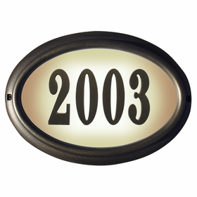 Edgewood Oval Lighted Address Plaque with Cast Aluminum Numbers - French Bronze Frame