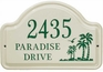 Whitehall Palm Ceramic Arch - Standard Wall Plaque - Three Line - Green