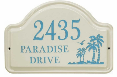 Whitehall Palm Ceramic Arch - Standard Wall Plaque - Three Line - Sea Blue