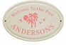 Whitehall Palm Ceramic Oval - Standard Wall Plaque - One Line - Coral