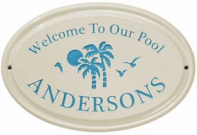Whitehall Palm Ceramic Oval - Standard Wall Plaque - One Line - Sea Blue