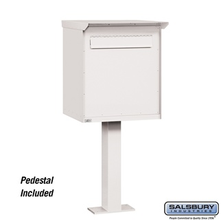Salsbury 4277WHT Pedestal Drop Box Jumbo White (Includes Pedestal)