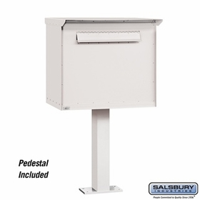 Salsbury 4276WHT Pedestal Drop Box Large White (Includes Pedestal)