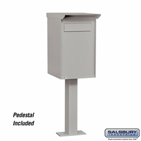 Salsbury 4275GRY Pedestal Drop Box Regular Gray (Includes Pedestal)
