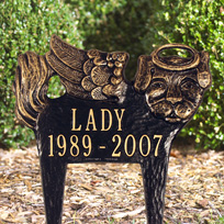 Pet Memorial Angel-Dog - Standard Lawn - Two Line