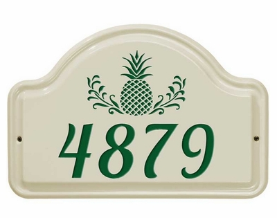 Whitehall Pineapple Ceramic Arch - One Line Standard Wall Plaque - Green