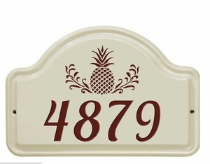 Whitehall Pineapple Ceramic Arch - One Line Standard Wall Plaque - Red