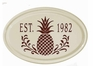 Whitehall Pineapple Ceramic Oval - One Line Petite Wall Plaque - Red