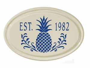 Whitehall Pineapple Ceramic Oval - One Line Petite Wall Plaque - Dark Blue