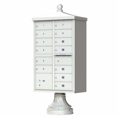 Postal Grey Cluster Box Unit with Finial Cap and Traditional Pedestal accessories - 13 compartment