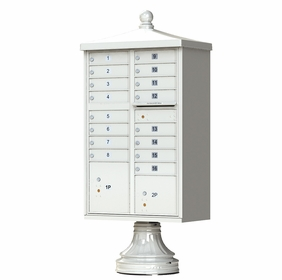 Postal Grey Cluster Box Unit with Finial Cap and Traditional Pedestal accessories - 16 compartment
