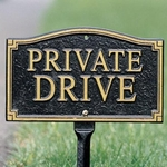 Whitehall Private Drive Statement Plaque - Wall/Lawn - Black/Gold