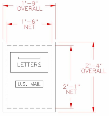 Rear Loading 1-Hopper Door Outgoing Mail Drop Box / Collection Center - 6 Units High