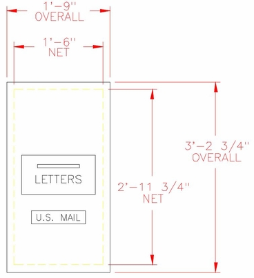 1-Hopper Door Outgoing Mail Dropbox / Collection Box - 7 Units High - Rear Loading