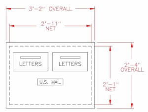 2-Hopper Door Collection Center / Outgoing Mail Drop Box - 5 Units High