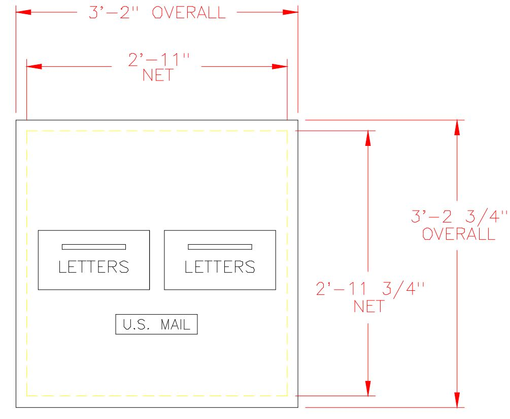 2 Hopper Door Rear Loading Outgoing Collection Bundle Box / Mail Drop Box    7 Units High.