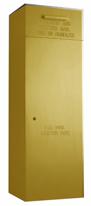"Rear Loading, Fully Recessed, Powdercoat Gold 60"" High Mail Collection Drop Box"