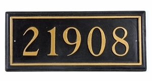 "Rectangle Cast Aluminum Address Plaque with Raised Letters (19"" x 8"")"