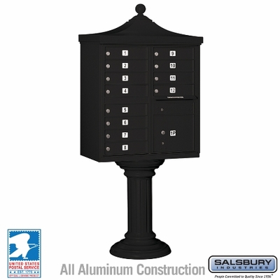 Salsbury 3312R-BLK-U 12 Door Regency Decorative Cluster Mailbox Black
