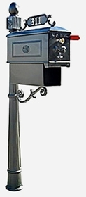 Residential Mailbox System with Fleur de Lis Mailbox and Newspaper Holder