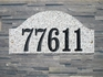 Ridgecrest Arch Solid Granite Address Plaque with Engraved Text - Autumn Leaf Stone Color