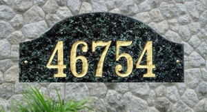 Ridgecrest Arch Solid Granite Address Plaque with Engraved Text - Emerald Green Polished Stone Color