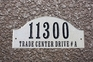 Ridgecrest Arch Solid Granite Address Plaque with Engraved Text - Sand Polished Stone Color
