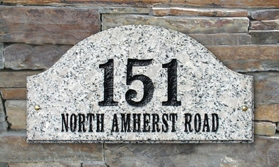 Ridgecrest Arch Solid Granite Address Plaque with Engraved Text - White Stone Color