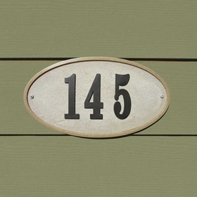 "Ridgstone Oval (13 1/4"" x 7 1/8"") Address Plaque System - Sandstone"