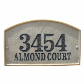 Riviera Arch Crushed Stone Address Plaque in Sandstone Color