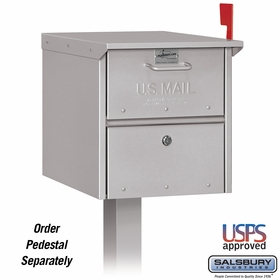 Salsbury 4325SLV Roadside Mailbox Front And Rear Access Silver