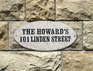 Rockport Oval Solid Granite Address Plaque With Engraved Text - Autumn Leaf