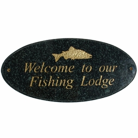 Rockport Oval LOGO Plaque (Includes Engraved Logo & One Line of Text) - Black Polished Stone Color