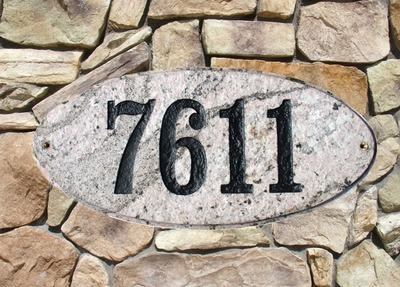 Rockport Oval Solid Granite Address Plaque With Engraved Text - Five Color
