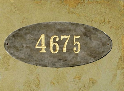 Rockport Oval Solid Granite Address Plaque With Engraved Text - Quartzite