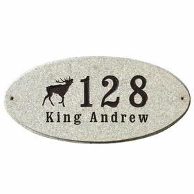 Rockport Oval LOGO Plaque (Includes Engraved Logo & One Line of Text) - Sand Granite Polished Stone Color