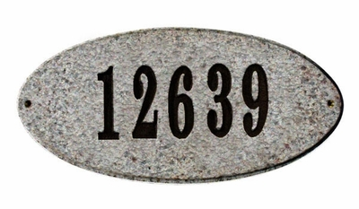 Rockport Solid Granite Oval with Engraved Numbers (Choose Color Combination)