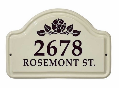 Whitehall Rosette Ceramic Arch - Two Line Standard Wall Plaque - Black