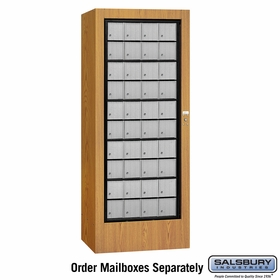 Salsbury 3100OKP Rotary Mail Center - Aluminum Style - Oak - Private Access
