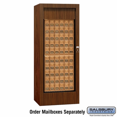 Salsbury 3150WAP Rotary Mail Center - Brass Style - Walnut - Private Access