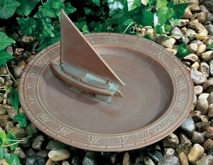 Whitehall Sailboat Sundial Birdbath - Copper Verdi