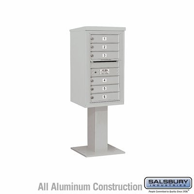 Salsbury 3408S-06GRY 4C Pedestal Mailboxes 6 Tenant Doors