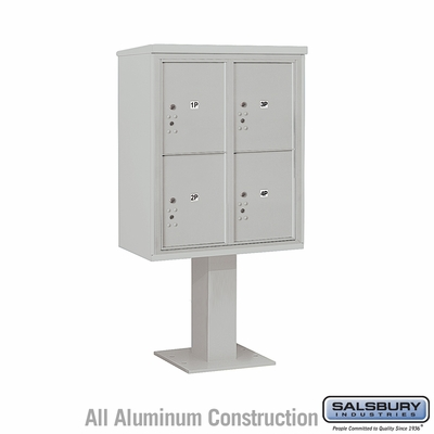 Salsbury 3410D-4PGRY 4C Pedestal Mailboxes 4 Parcel Lockers