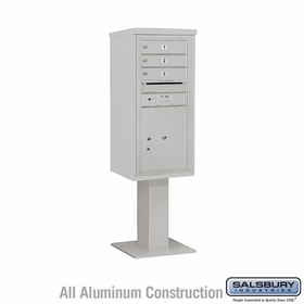Salsbury 3410S-03GRY 4C Pedestal Mailboxes 3 Tenant Doors