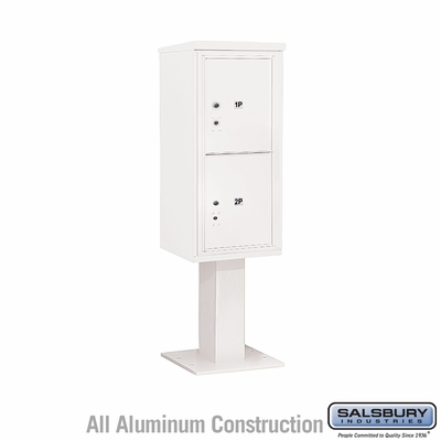 Salsbury 3410S-2PWHT 4C Pedestal Mailboxes 2 Parcel Lockers